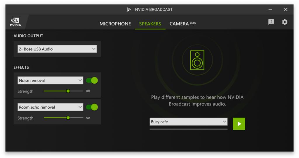 NVIDIA Broadcast UI